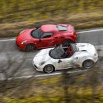 2015 Alfa Romeo 4C Coupe (top) and Alfa Romeo 4C Spider (bottom)